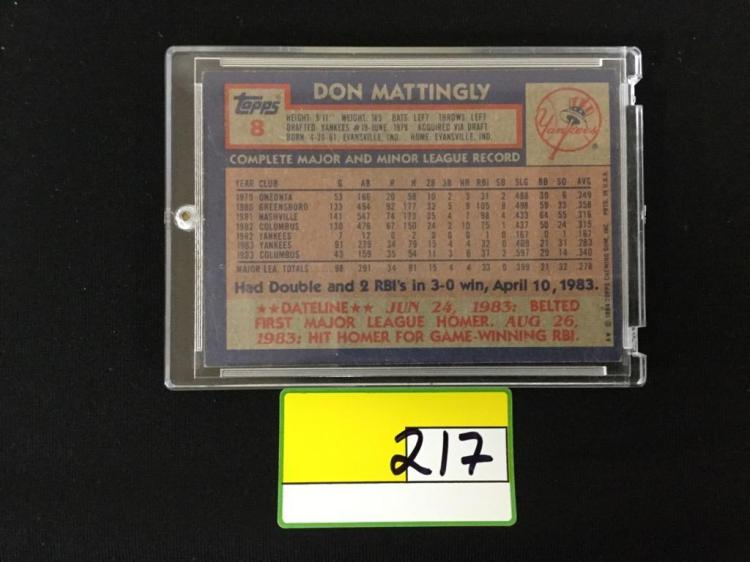 1984 Topps Don Mattingly Rc Rookie