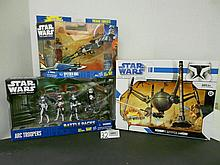 (3) Star Wars(Clone Wars) Battle Packs and Vehicles N.I.B. for one money