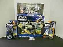 (4) Star Wars(Clone Wars) figures and vehicle N.I.B. for one money