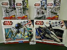 (6)Star Wars(Clone Wars) Vehicles and Figures N.I.B. for one money