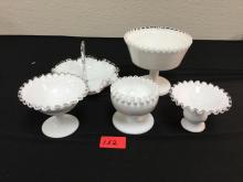 VINTAGE MILK GLASS. 5 Count. Pedestal Compote, Candy Tray 3 small pedestal bowls