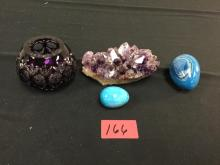 Amethyst rock, 2 turquoise eggs and a nice crystal cut Bowl