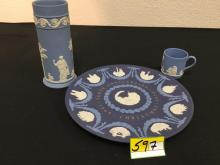 VINTAGE VINTAGE WEDGEWOOD BLUE JASPERWARE, PLATE,TEA CUP AND TALL MATCHSTICK HOLDER . 3 COUNT!! BEAUTIFUL AND CHIP FREE