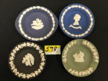 VINTAGE VINTAGE WEDGEWOOD JASPERWARE. 4 DIFFERENT VIBRANT COLOR MINIATURE PLATE/ASHTRAY/TRAY PIECES. BEAUTIFUL AND CHIP FREE