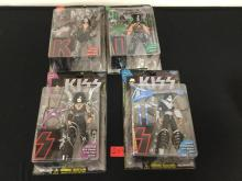 VINTAGE MAFARLANE TOYS, SET OF FOUR, KISS ACTION FIGURES. ACE FREHLEY, PETER CRISS, PAUL STANLEY AND GENE SIMMONS. NIB. GREAT PIECES OF HISTORY IN OF ROCK AND ROLL.