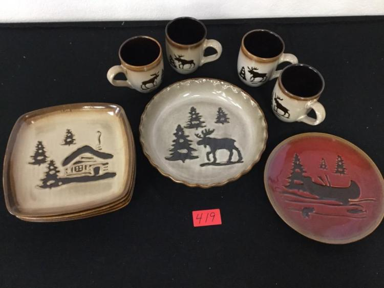 vintage woodland home studio dinnerware odd lot consisting