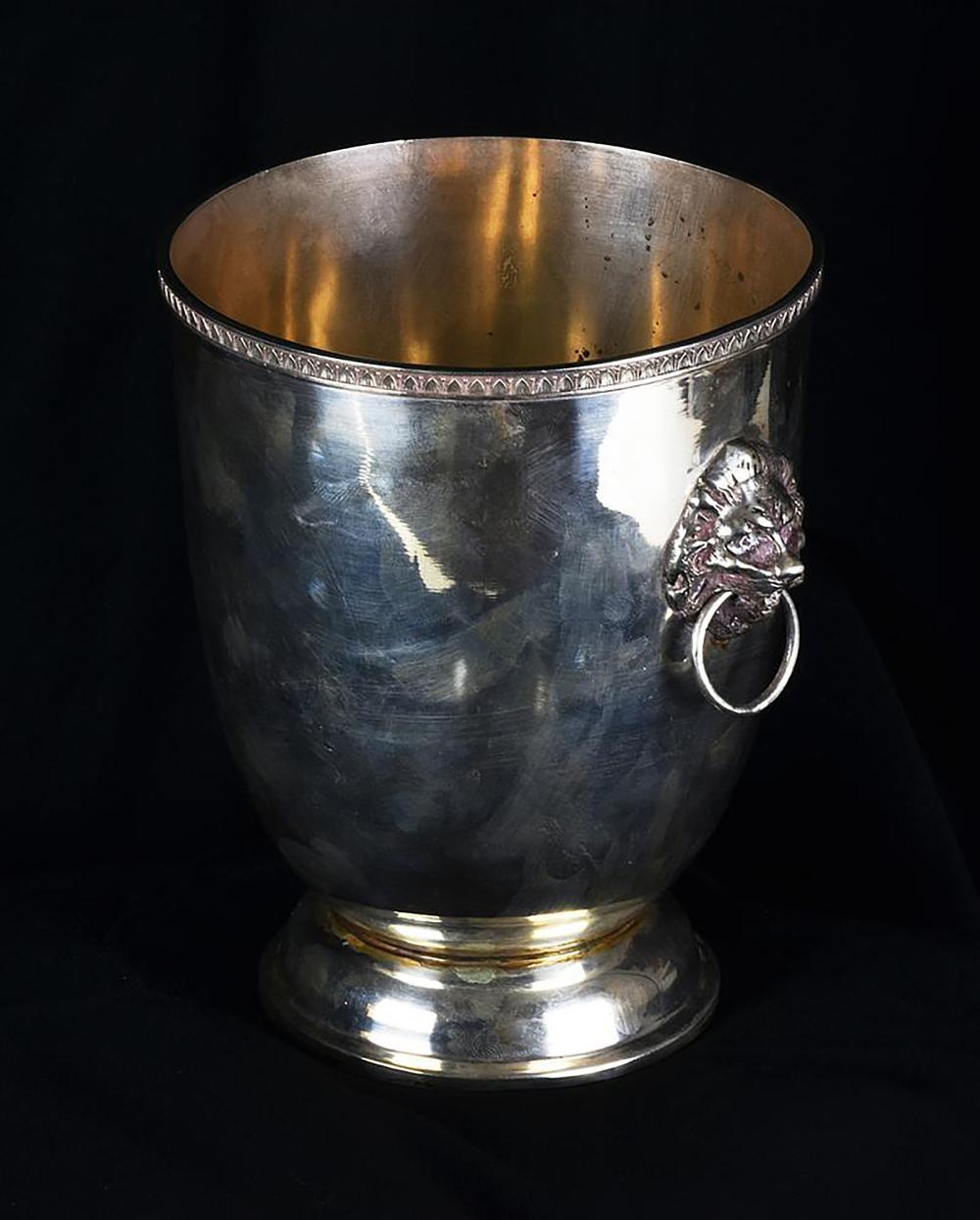 Porte Per Interni Prezzi Foggia secchiello portaghiaccio in argento manici a foggia di testa leonina h cm  15,5 - diam cm 12,5 gr 498
