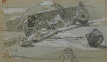Marco Calderini (1850 - 1941) PESCATORI ALL'ISOLA BELLA Matita di grafite e tempera bianca. mm 100x1