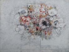 Francoise Gilot NATURA MORTA tempera e gouache su cartone, c
