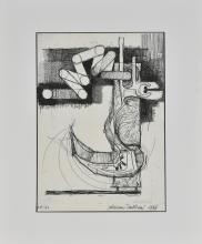 Valeriano Trubbiani COMPOSIZIONE incisione, cm 37,5x29 firmato, datato e numerato esemplare 44/50 esegutio nel 1966