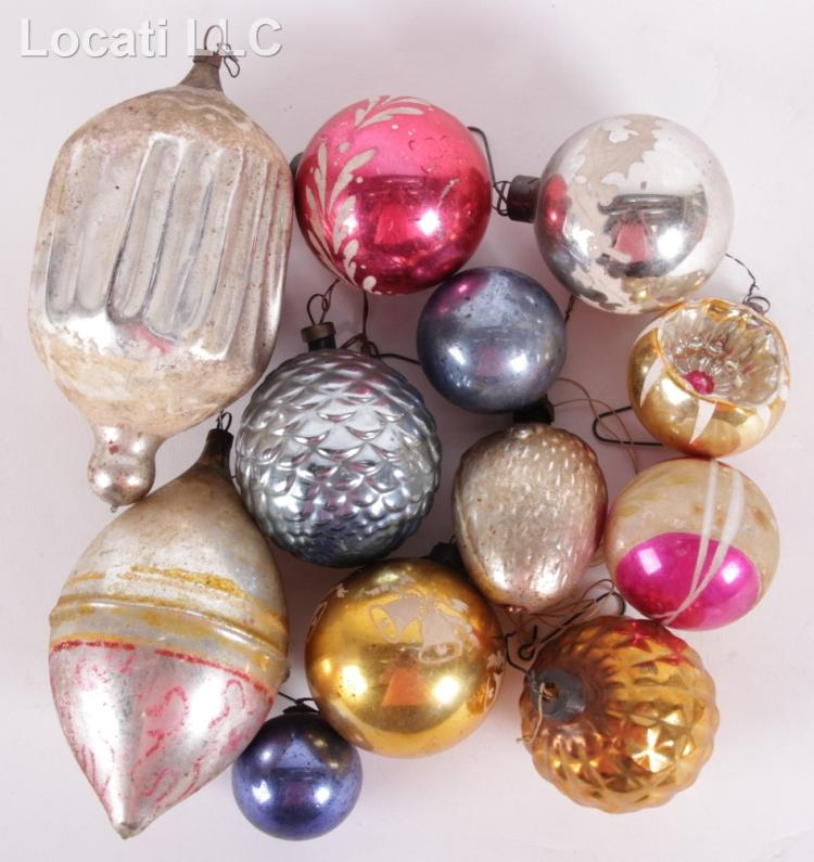 A Group Of Vintage Glass Christmas Ornaments