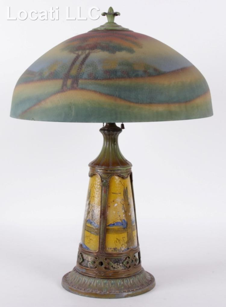 A Pittsburgh Reverse Painted Table Lamp