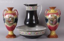 A Ceramic Lot: A Pair of Royal Vienna Art Pottery Urns, and a Wash Basin Set