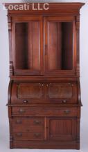 A 19th Century American Walnut Cylinder Secretary Desk