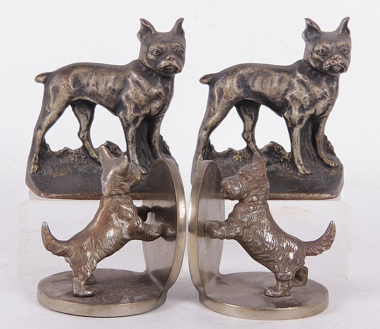 Two Pairs Of Dog Form Cast Iron Bookends