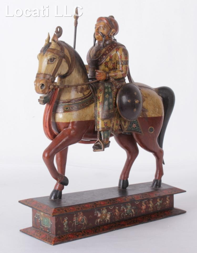 An Indian Figure of a Soldier on Horseback