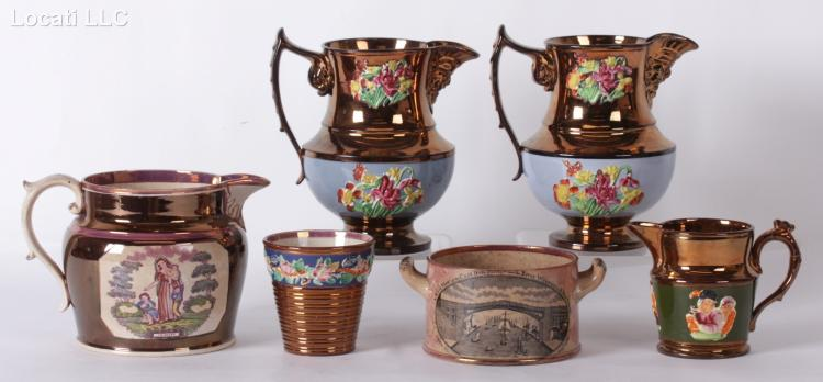 A Group of Copper Lustreware Including Sunderland