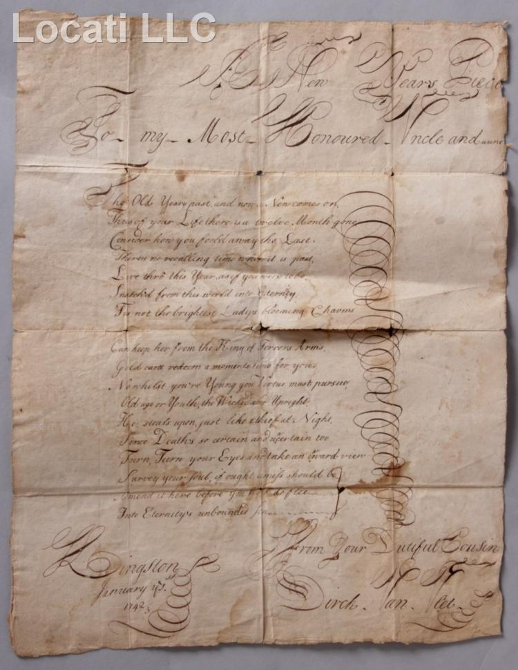 A New York State Calligraphy Document Dated 1742