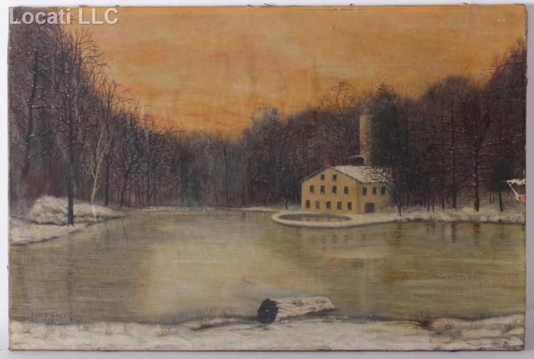 American Folk Art, (Dated 1908) Oil on Canvas, Germantown Waterworks