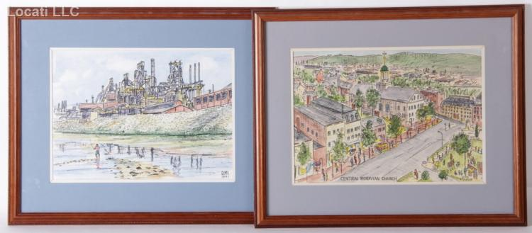 George Mengelson (American 20th Century) Watercolor, Two Works