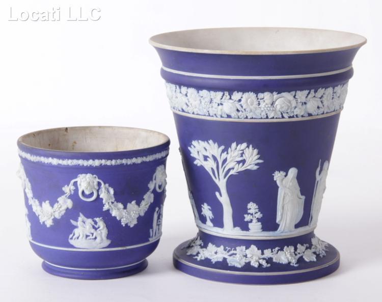 Two Pieces of Dark Blue Wedgwood Jasperware