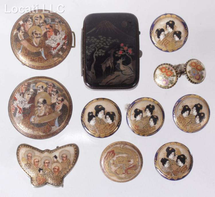 A Group of Antique Satsuma Buttons and Jewelry