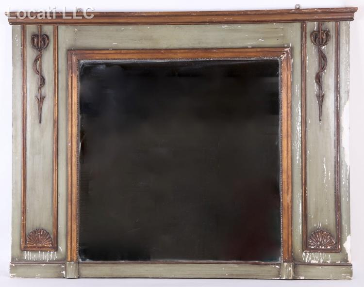 A Large Continental Painted and Parcel Gilt Mantel Mirror