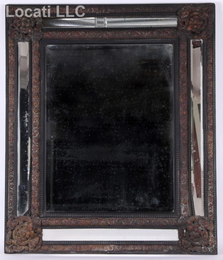 A Large Mid 19th Century Mirror with Copper Decoration