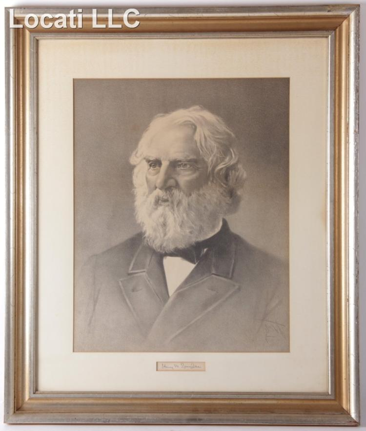 Etching, Portrait of Henry W. Longfellow with Autograph