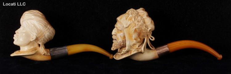 Two Meerschaum Pipes, Arab Man and Man with Turban