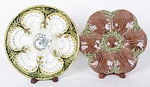 Two Majolica Oyster Plates Including Luneville