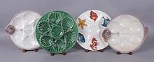 Four Pottery Majolica Plates