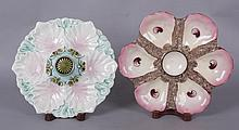 Two Majolica Oyster Plates