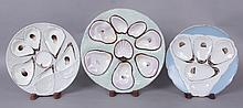 Three Porcelain Oyster Plates, Faux Napkin Decoration