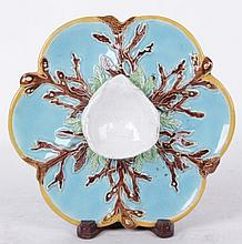 George Jones Turquoise Majolica Oyster Plate
