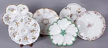 Six Limoges Oyster Plates, Various Decoration