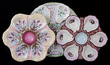 Three Hand Painted Porcelain Oyster Plates