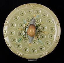 A Luneville Majolica Escargot Plate