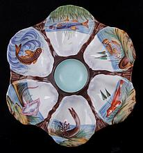 Oyster Plate with Hand Painted Fish Decoration