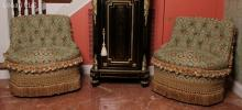 A Pair of Upholstered Hall Chairs