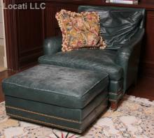A Green Leather Easy Chair and Matching Ottoman