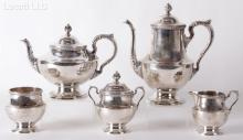 A Five Piece Sterling Silver Tea Set by Poole