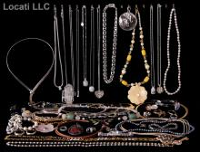 An Estate Lot of Costume Jewelry, Including Sterling and 14K Gold
