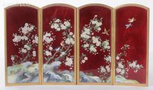 A Japanese Cloisonne Ando Inaba Ginbari Screen