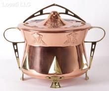 A German Secessionist Style Copper and Brass Punchbowl