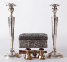 An Estate Lot Including a Pair of Sterling Candlesticks