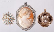 Three Vintage 14k Gold Pins/Pendants