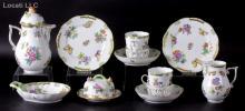 A Herend Porcelain Dessert Set, Queen Victoria, Green Border