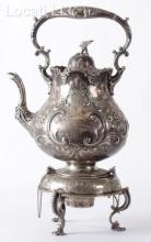 A 19th Century Silver Plated Repousse Kettle and Stand