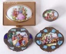 Three Silver and Enamel Compacts
